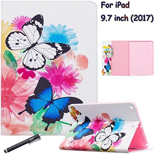 iPad 20179,7Fall, Neue iPad 9,7Fall, newshine Premium Light Gewicht Ständer Folio stoßfest Cover Protector für Apple New iPad 24,6cm 2017Release Tablet, 1 Butterfly (1. Butterfly Geburtstag)