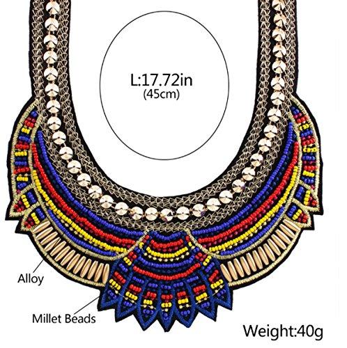 ZPXLGW Europe Et Les Etats-Unis Big Fashion Bohemian National Wind Collier Tissé De Perles blue