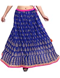 Gaurangi Women's Gold Work,Hand Block Print,Designer Mirror Work Wedding Lehanga,Party Wear Skirt For Girl's Floor...