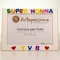 Cornici per foto in legno con la scritta Super Nonna TVB e decorata con cuoricini, da appoggiare o appendere, misura…