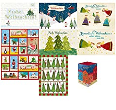 Idea Regalo - gutsch 4031812002742Set: cartoline, biglietti d' auguri con busta, grande, medio, piccolo, Calendario dell' Avvento Slot, Tè di luce lampada da Natale, 9er Confezione