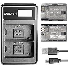 Neewer 2 piezas 2000mAh Batería Li-ion sustitución para Canon LP-E6 y 5V/2A entrada Micro USB cargador doble para Canon 5D 6D 7D III 5Ds/R 60D 80D cámaras DSLR,apretones BG-E14 E13 BG BG-E11 BG-E9 BG-E6