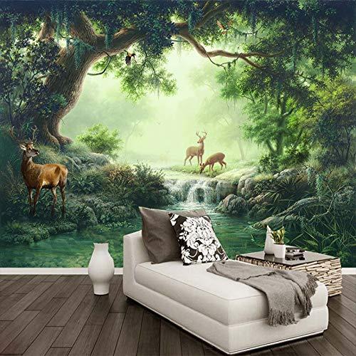 MuralXW Fototapete 3D Wohnzimmer Schlafzimmer Sofa TV Hintergrundbild 3D Waldelch Ölgemälde Hintergrund Wandmalerei-450x300cm (Rolex Tauchen)