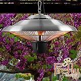 Firefly 1500W Terrassen Deckenheizstrahler Infrarot-Außen-Heizstrahler für Deckenmontage (Edelstahl)