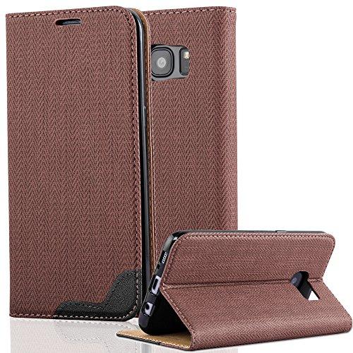 Preisvergleich Produktbild Cadorabo Hülle für Samsung Galaxy S7 Edge - Hülle in KASTANIEN Braun – Handyhülle in Bast-Optik mit Kartenfach und Standfunktion - Case Cover Schutzhülle Etui Tasche Book Klapp Style