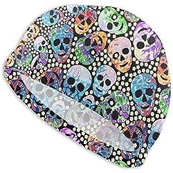 Fun Life Art Gorro de natación antideslizante con flores de calaveras abstractas