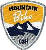 Club-of-Heroes 2 x Abzeichen gestickt 55 x 60 mm/Mountain-Bike/für MTB Radtouren Alpencross Transalp Downhill/hochwertige Applikation Aufnäher Aufbügler Flicken Bügelbild Patch (gelb)