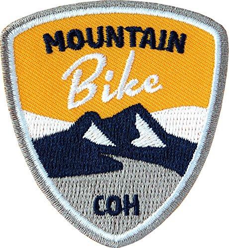Club of Heroes 2 x Abzeichen gestickt 55 x 60 mm/Mountain-Bike/für MTB Radtouren Alpencross Transalp Downhill/hochwertige Applikation Aufnäher Aufbügler Flicken Bügelbild Patch (gelb) Jacke Patch-bike