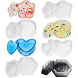 Lhedon Resin Moulds Epoxy for Casting DIY Crafts Jewelry Box Organizer,4 Silicone Moulds Art Molds Include Round,Hexagon,Heart,Plum Blossom Resin Molds for Storage Holder Resin molds Silicone