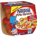 Nestlé Bébé P'tite Recette Poulet Basquaise - Plat Complet dès 15 Mois - 2 x 200g - Lot de 8