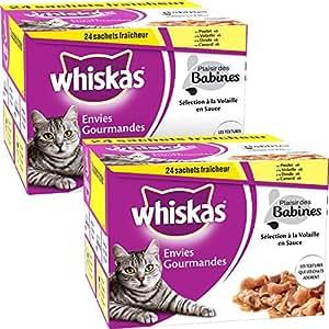 Whiskas Zum Fressen gern Katzenfutter Köstlich schlecken Geflügel, 48 Beutel (2 x 24 x 85 g)