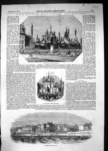 Brighton-Garten-Front-NordEingangs-Ansicht-Architektur des Königlichen Pavillon-1845
