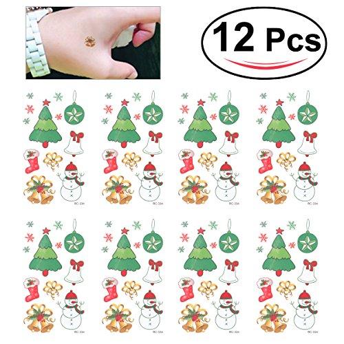 OULII Tatuaggi Tattoo temporanei impermeabile per bambini con figurine di addobbi Natale (12PCS)