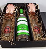 Moscow Mule Set / Geschenkset - Moskovskaya Vodka 1L (40% Vol) + 2x Goldberg Kupferbecher + 2x Thomas Henry Spicy Ginger 200ml