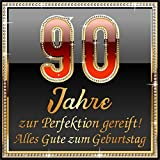 3 St. Aufkleber Original RAHMENLOS® Design: Selbstklebendes Flaschen-Etikett zum 90. Geburtstag: 90 Jahre zur Perfektion gereift!