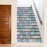 Walplus Wandaufkleber ablösbar selbstklebend Wandkunst Aufkleber Vinyl Wohndeko DIY Wohnzimmer Schlafzimmer Küche Dekor Tapete Geschenk südländischer Skye klassisch blau Mosaik Kachel - 15 cm x 15 -