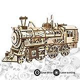 ROKR Laser Schneiden 3D Holz Puzzle Lokomotive Handwerk Modell Mit Mechanischen Getriebe Spielzeug für Jungen und Mädchen (Locomotive)