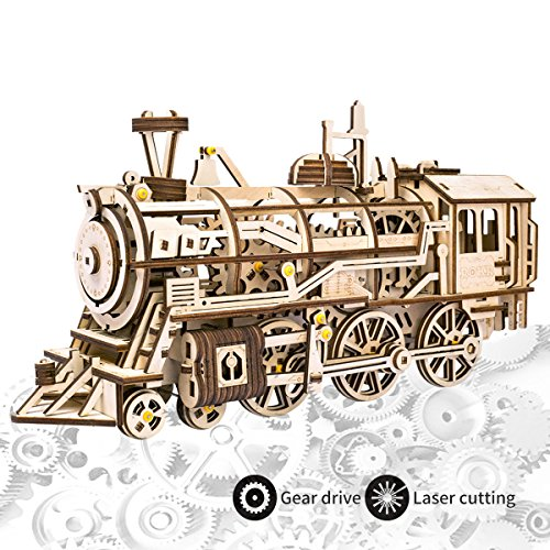 ROKR Laser Cutting 3D Wooden Puzzle Locomotive Craft Model with Mechanical Gear-Best Toys for Boys and Adults