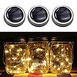 Pawaca 3 Pack Mason Jar Solar Lights, 20 Micro LEDs Solar String Luci Fata Luce Coperchi Inserire Per Patio Giardino, Matrimonio, Festa Di Natale Lluminazione Decorativa (Bianco Caldo, Mason Jar Non Incluso)