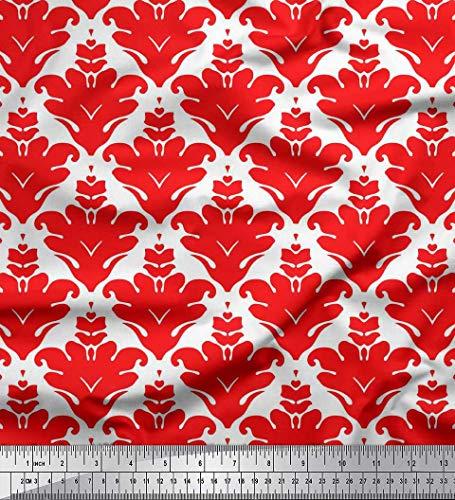 Soimoi Rot Poly Krepp Stoff verzierte filigran Damast Stoff Meterware 52 Zoll breit 34p Pc