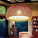 Lustre Suspension Country Style Rétro Lampe Suspendue En Rotin Tissé À La Main En Bambou Abat Salon Chambre Hauteur Réglable