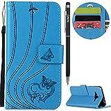 Galaxy J3 2016 Hülle,Galaxy J3 2016 Leather Handyhülle,WIWJ Handyhülle Wallet Case[Impressum Love Butterfly Ledertasche] Flip Schutzhülle für Samsung Galaxy J3 2016-Blau