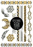 Irresistable Mix ✮ Premium Designer Luxury Metallic Gold & Silver Flash Temporary Body Tattoos for Festivals / Ibiza (Large A5 Size)