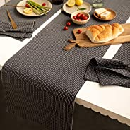 Ellementry Pinstriped 100% Cotton Table Runner, 36 cm x 182 cm, (Charcoal Grey)