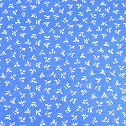 Weiß Blätter auf Blau führenden Marke 100% Baumwolle Fat Quarter FQ Quilten, Wimpelkette, Craft Stoff fq124d (Blau Und Weiß Fat Quarter)