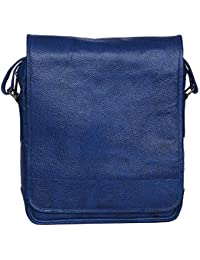 Woodons Premium Unisex Leather Sling Bag (Blue, STB59)