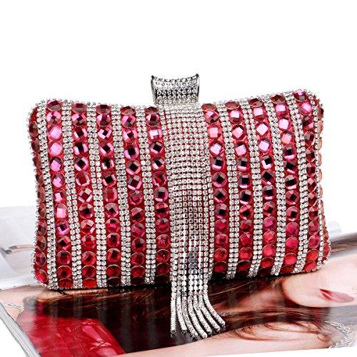 GSHGA Frauen-Handtaschen-Diamanten Handtasche Exquisite Bankett Abendtäschchen,Silver Red