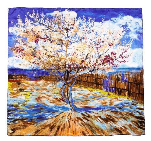 Prettystern p907 - 90cm 100% seta impressionismo arte panno stampa pittura - van gogh - peach in fiore (blu viola)