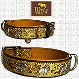 Woza Premium DREIFARBIGES HUNDEHALSBAND FRANZÖSISCHE Bulldogge 3,3/50CM Gold PRÄGUNG SATTLERNAHT Vollleder SCHWARZ RINDNAPPA Leder Cognac Collar