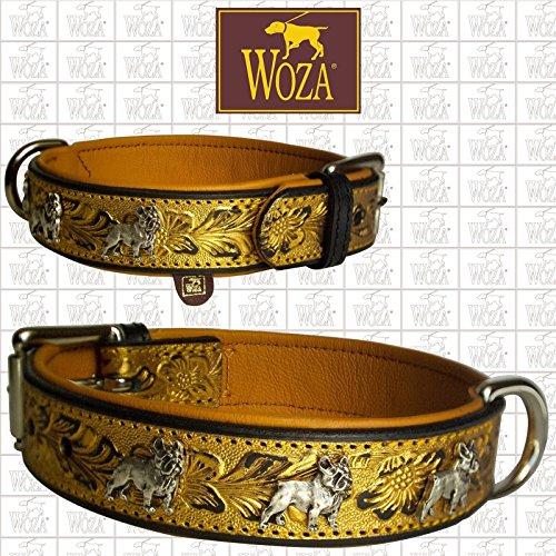 Woza Premium DREIFARBIGES HUNDEHALSBAND FRANZÖSISCHE Bulldogge 3,3/50CM Gold PRÄGUNG SATTLERNAHT Vollleder SCHWARZ RINDNAPPA Leder Cognac Collar -
