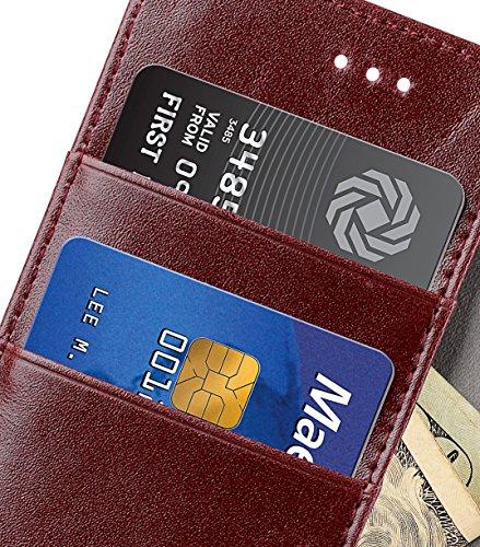 Apple Iphone 7 Melkco Elite-Serie Premium Leder-Snap zurück Tasche Tasche mit Premium-Leder Handgefertigte gute Schutz, Premium Feel-Tan Blauer Streifen / Rot 1