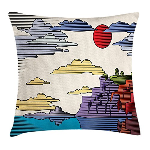 Nature Throw Pillow Cushion Cover, Woodcut Style Graphic Image of Mountain and Tranquil Sea Scenery at Sunset Print, Decorative Square Accent Pillow Case, 18 X 18 inches, Multicolor