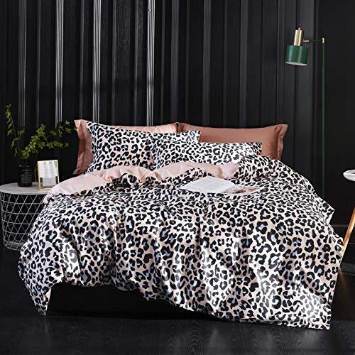 yaonuli Langstapelige Baumwolle aus bedruckter, vierteiliger finnischer Leoparden-Jade aus Baumwolle. Vergrößern (2 m Bett) Bettbezug 220 * 240 Blatt 250 * 270 Kissenbezug 48 * 74 * 2