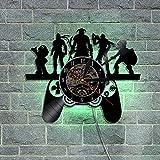 ZJWZ Spielstil Vinyl-Wall-Uhr Moderne CD-Vinyl-Schallwand-Uhr mit LED-Hintergrundbeleuchtung kreative handgefertigte Kunstgeschenk für Gamer