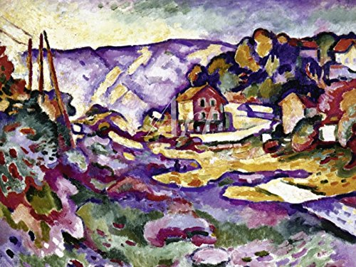 Artland Wandbilder selbstklebend aus Vliesstoff oder Vinyl-Folie Georges Braque Landschaft bei L' Estaque, 1906 Landschaften Europa Frankreich Malerei Lila C2VG