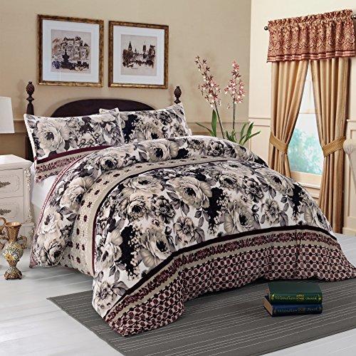 Einfache & Opulence Flanell-Bettbezug-Set Super Weich Blume Muster, Flanell, braun, Queen (Queen-size-braun Flanell-bettwäsche)