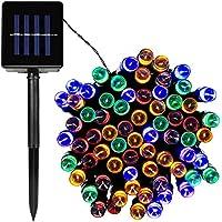 Stringa LED Solare,12m 100LEDs 8 Modelli Impermeabile di Lucine Decorative Natale per Feste Outdoor Giardino Nozze Party(Multicolore)