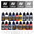 Airbrush Farben 18 x 17 ml Vallejo Model Air Basis Bunt Metallic Farben-Set Airbrushfarben von Vallejo Model Air - TapetenShop