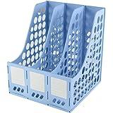 Amazon Brand - Eono Plastic Magazine File Book Holder, Desktop Storage Rack Classic Desk Organiser, 3 Compartment(Blue)