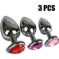 3 PCS Métal Inox Tailles Différentes Pour Hommes Femmes Mâle S M L (Rouge, Rose, Violet)