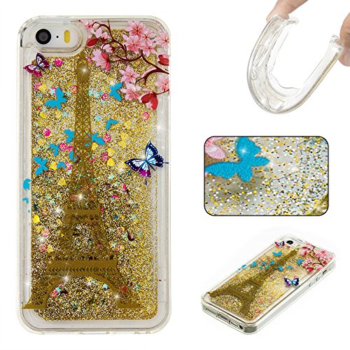 For APPLE IPHONE 5S/SE[CUTE SPARKLING]Novelty Creative Liquid Glitter Design Liquid Quicksand Bling Adorable Flowing Floating Moving Shine Glitter Case -SILVER SMILE GOLD EIFFEL