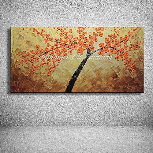 Antik-braun Cherry (Ölgemälde Auf Leinwand Handgemalt,Abstrakte Landschaft Malerei,Orange Cherry Tree Auf Braun,Luxus Groß Dekorative Handgefertigte Kunstwerke Für Haus Schlafzimmer Wohnzimmer Erwachsene Geschenk,40)