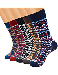 FULIER Mens 5 pack Cotton Rich Smart Design Calcetines coloridos y cómodos Calcetines UK 6-