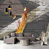 YShasaG Benutzerdefinierte 3D Wandbild Tapete Vintage Holz Muster Blume Vogel Abstrakte Kunst Große Wandbilder Wandmalerei Studie Schlafzimmer Hintergrund Dekor, 275 cm * 252 cm