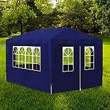 Zora Walter Poly?thylen Partyzelt mit 4 W?nden Blau Pavillon Wasserdicht Gartenzelt with Size:4x3x2,5 m