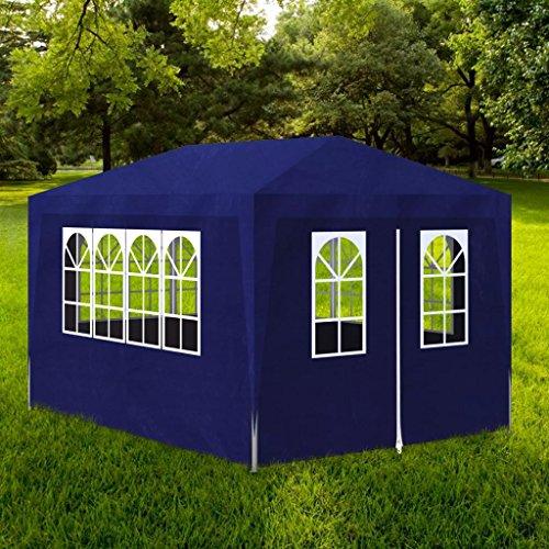 Zora Walter Bleu Tente de réception avec 8 Murs Tonnelle Abri de Jardin 4 x 3 x 2,5 m